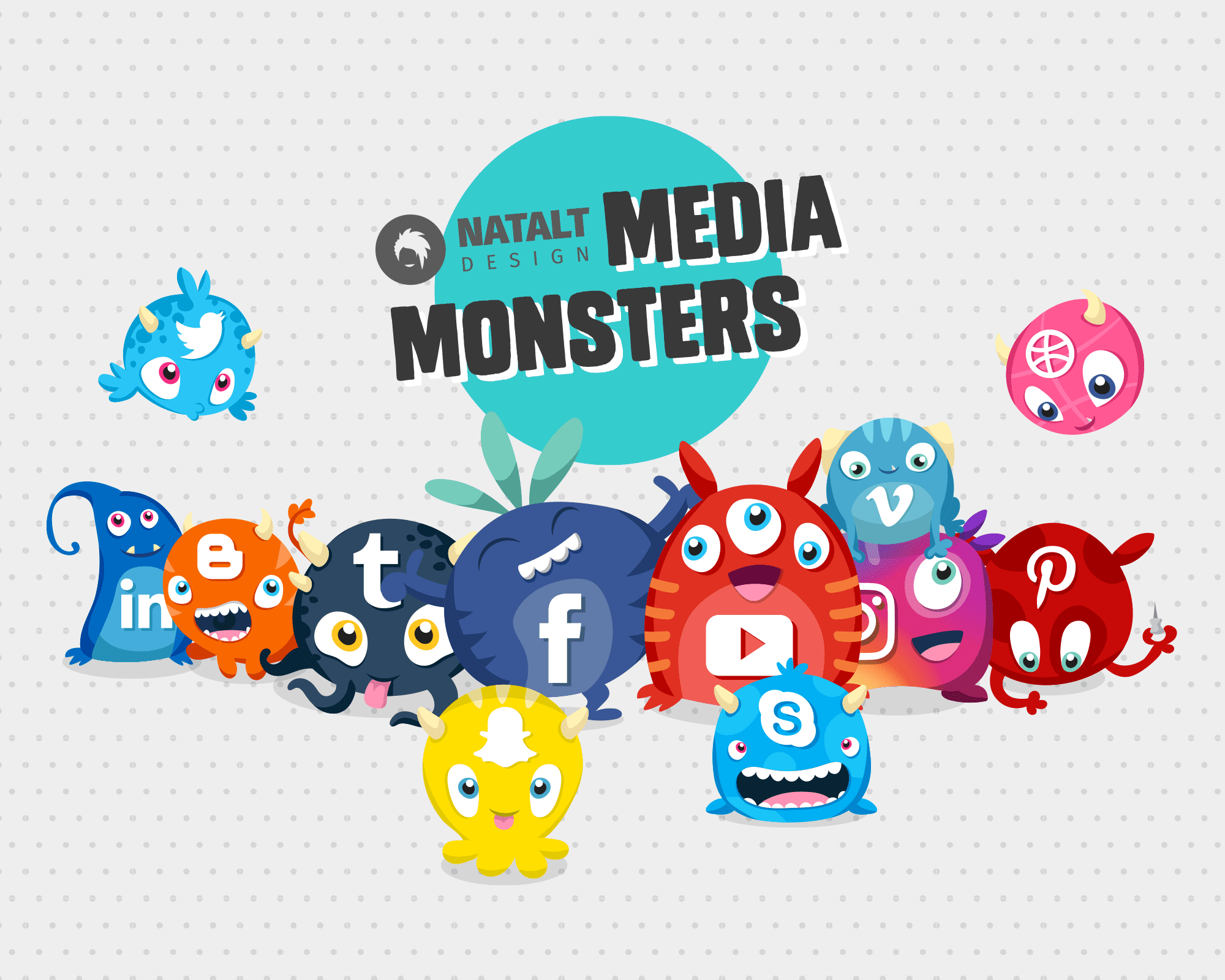 Social Media Monsters icon design